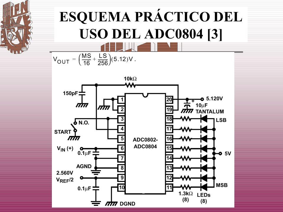 ESQUEMA PRÁCTICO DEL USO DEL ADC0804 [3]